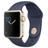 Apple Watch 38mm Sport Band Gold with Midnight Blue