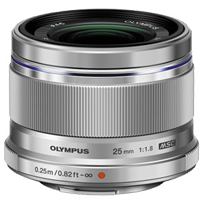 New Olympus M.Zuiko Digital 25mm F1.8 Lens Silver